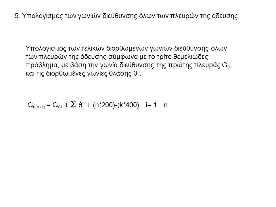 5. Υπολογισμός των γωνιών διεύθυνσης όλων των πλευρών της όδευσης.
