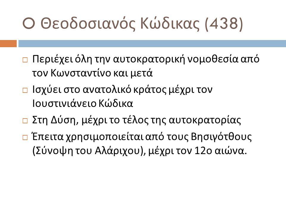 O Θεοδοσιανός Κώδικας (438)