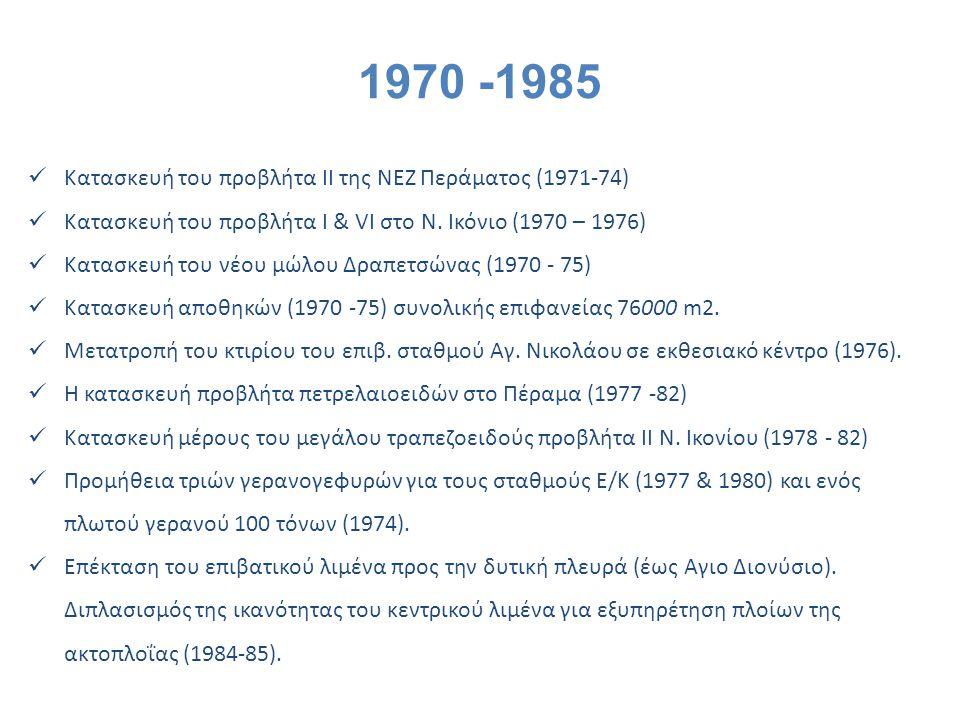 1970 -1985 Κατασκευή του προβλήτα II της ΝΕΖ Περάματος (1971-74)