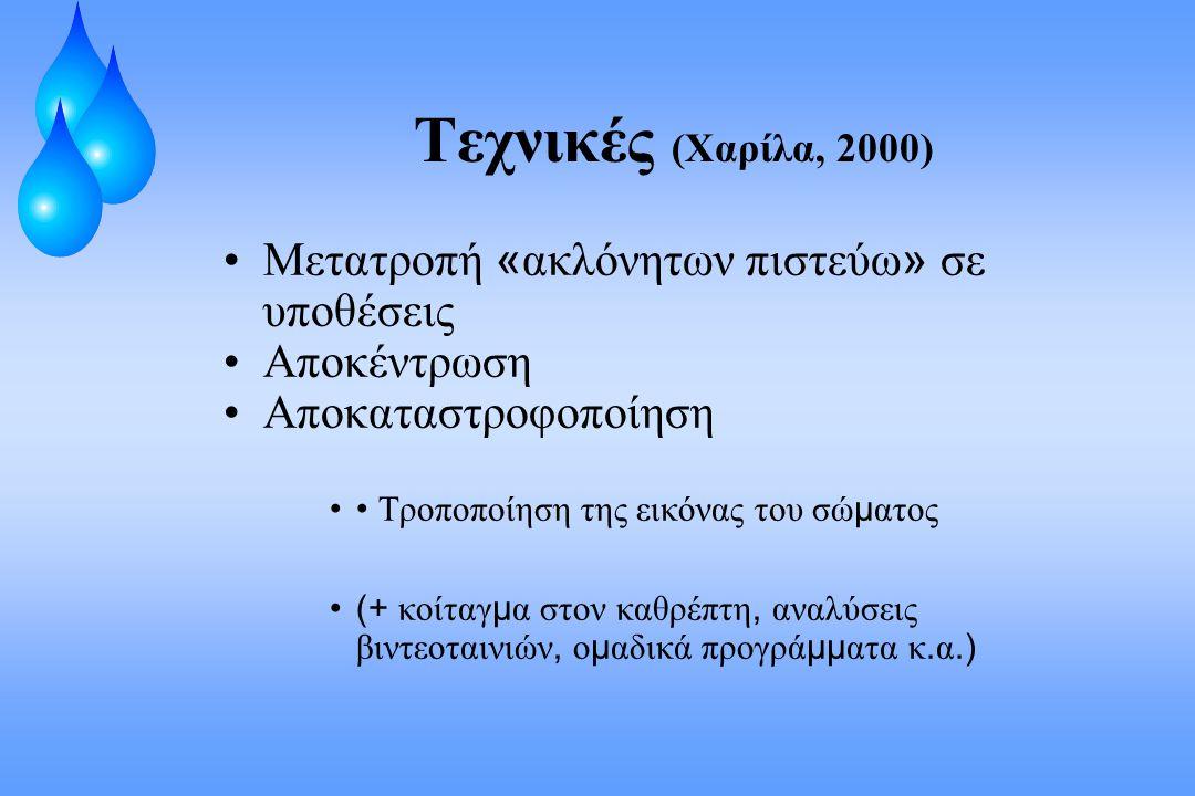 Τεχνικές (Χαρίλα, 2000) Μετατροπή «ακλόνητων πιστεύω» σε υποθέσεις