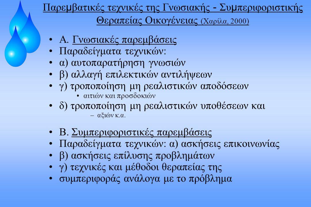 Α. Γνωσιακές παρεμβάσεις Παραδείγματα τεχνικών: