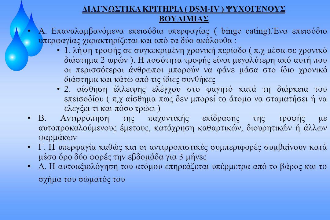 ΔΙΑΓΝΩΣΤΙΚΑ ΚΡΙΤΗΡΙΑ ( DSM-IV ) ΨΥΧΟΓΕΝΟΥΣ ΒΟΥΛΙΜΙΑΣ
