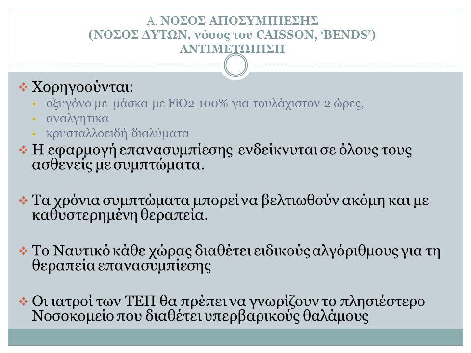 Α. ΝΟΣΟΣ ΑΠΟΣΥΜΠΙΕΣΗΣ (ΝΟΣΟΣ ΔΥΤΩΝ, νόσος του CAISSON, 'BENDS') ΑΝΤΙΜΕΤΩΠΙΣΗ
