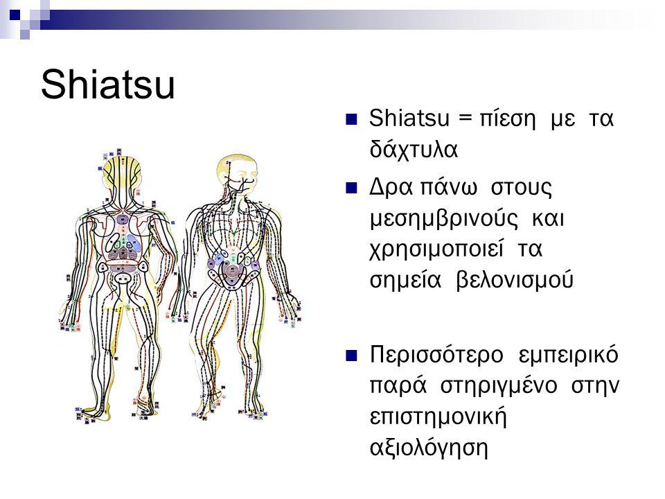 Shiatsu Shiatsu = πίεση με τα δάχτυλα
