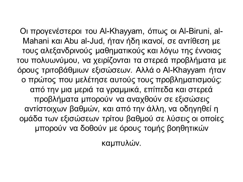 Οι προγενέστεροι του Al-Khayyam, όπως οι Al-Biruni, al-Mahani και Abu al-Jud, ήταν ήδη ικανοί, σε αντίθεση με τους αλεξανδρινούς μαθηματικούς και λόγω της έννοιας του πολυωνύμου, να χειρίζονται τα στερεά προβλήματα με όρους τριτοβάθμιων εξισώσεων.