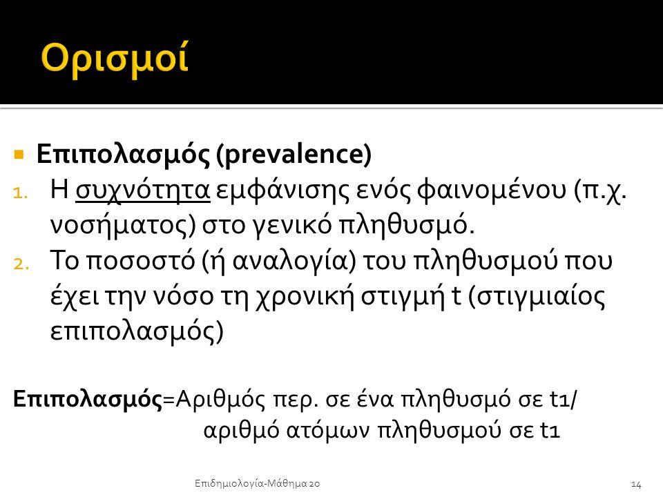 Ορισμοί Επιπολασμός (prevalence)