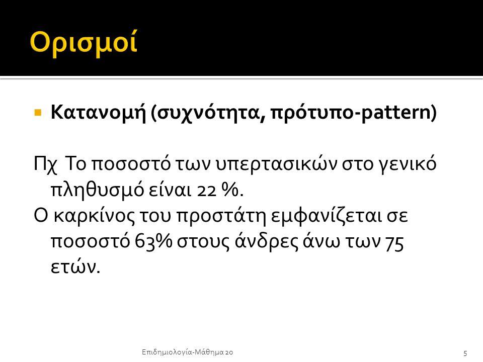 Ορισμοί Κατανομή (συχνότητα, πρότυπο-pattern)