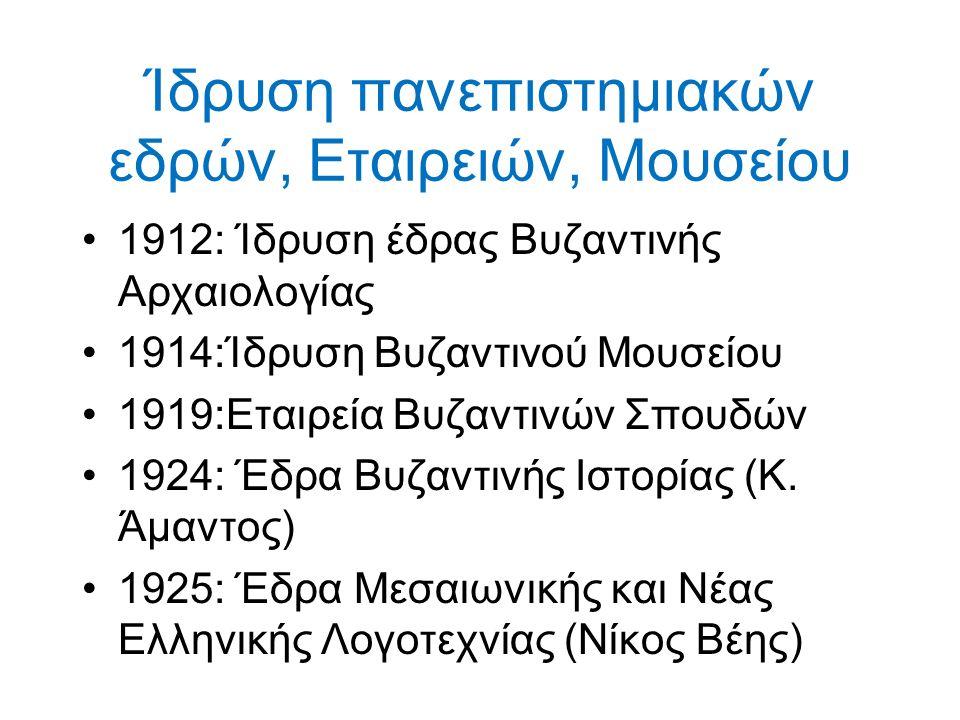 Ίδρυση πανεπιστημιακών εδρών, Εταιρειών, Μουσείου