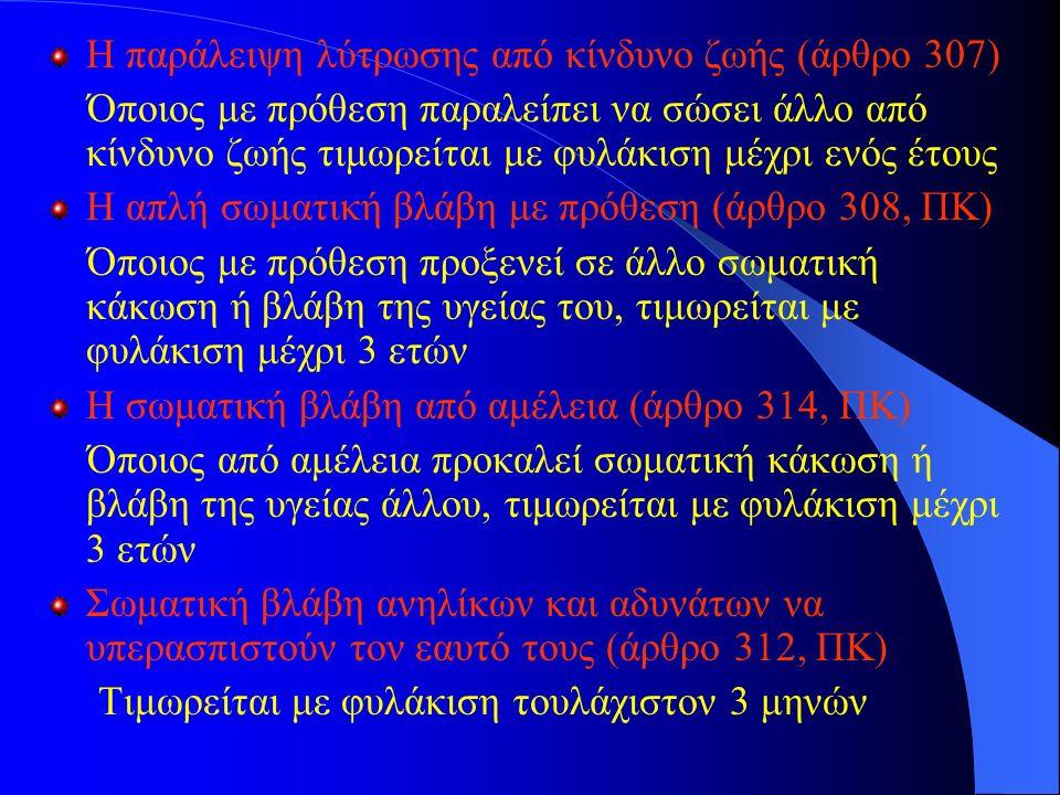 Η παράλειψη λύτρωσης από κίνδυνο ζωής (άρθρο 307)
