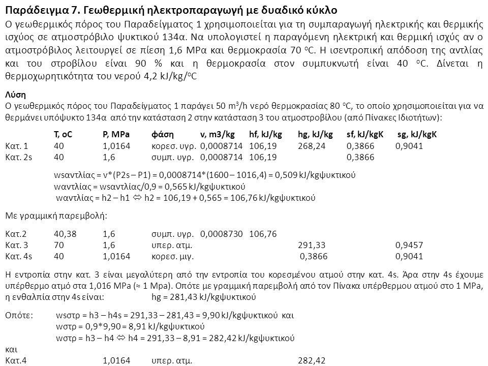 Παράδειγμα 7. Γεωθερμική ηλεκτροπαραγωγή με δυαδικό κύκλο