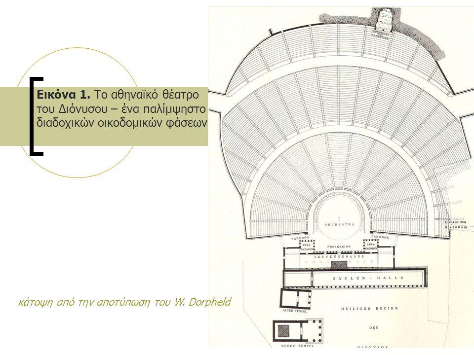 Εικόνα 1. Το αθηναϊκό θέατρο του Διόνυσου – ένα παλίμψηστο διαδοχικών οικοδομικών φάσεων