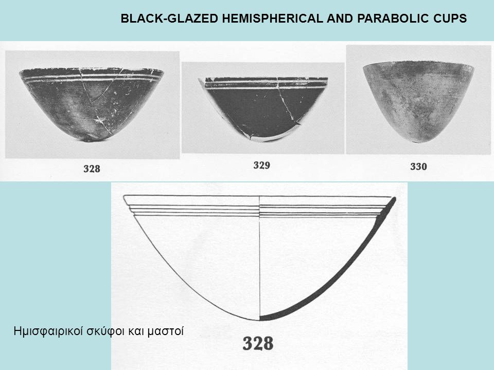 BLACK-GLAZED HEMISPHERICAL AND PARABOLIC CUPS