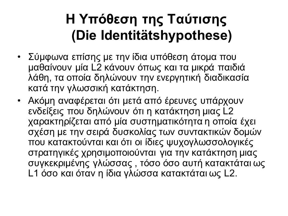 Η Υπόθεση της Ταύτισης (Die Identitätshypothese)