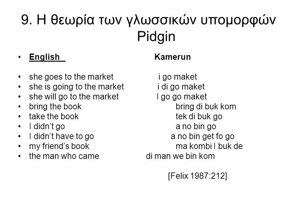 9. Η θεωρία των γλωσσικών υπομορφών Pidgin