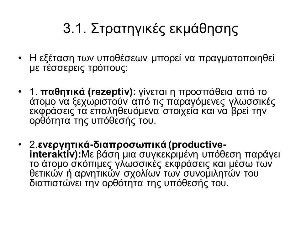 3.1. Στρατηγικές εκμάθησης