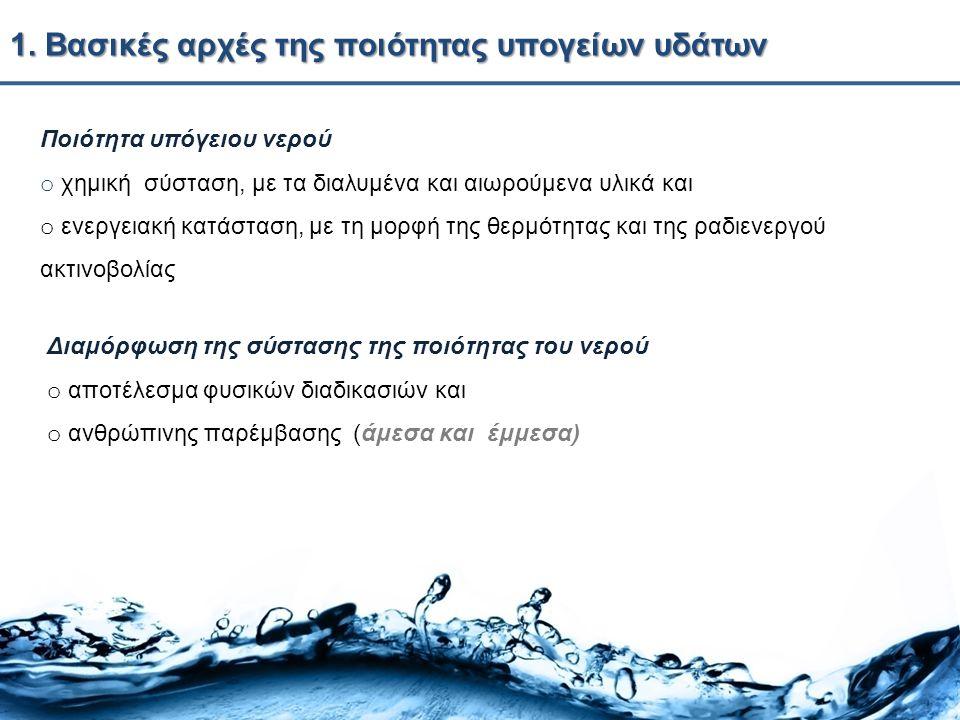 1. Βασικές αρχές της ποιότητας υπογείων υδάτων