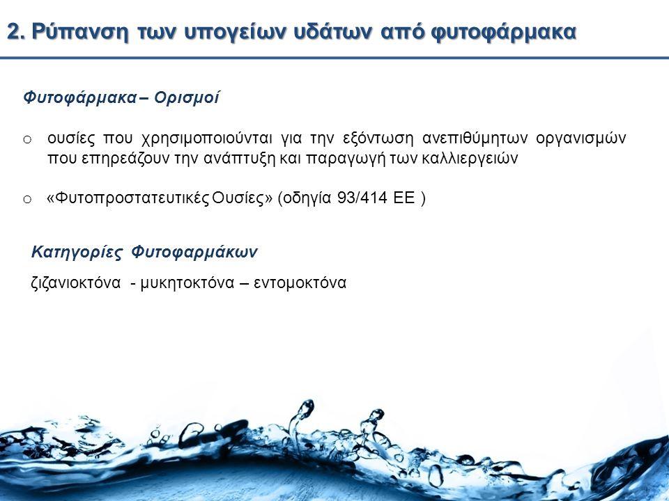 2. Ρύπανση των υπογείων υδάτων από φυτοφάρμακα