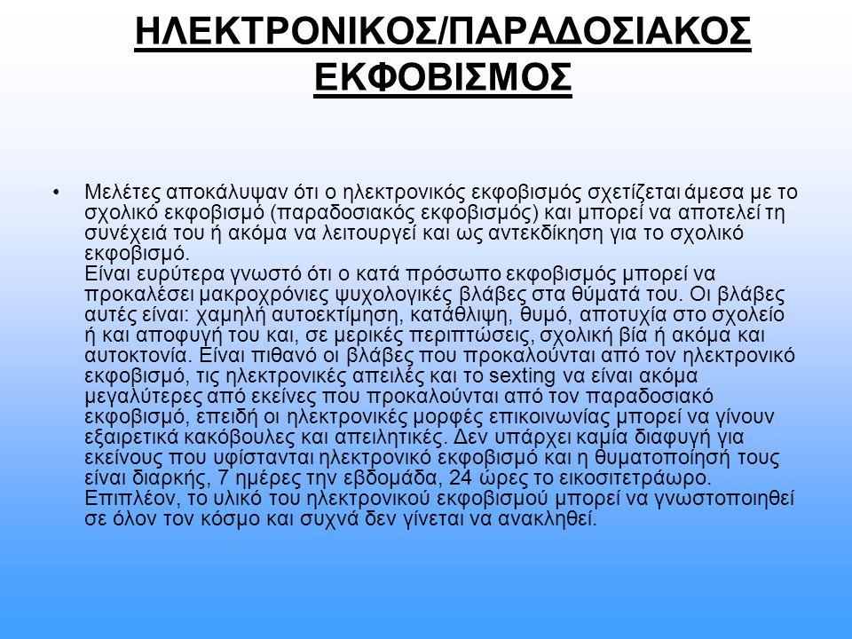 ΗΛΕΚΤΡΟΝΙΚΟΣ/ΠΑΡΑΔΟΣΙΑΚΟΣ ΕΚΦΟΒΙΣΜΟΣ