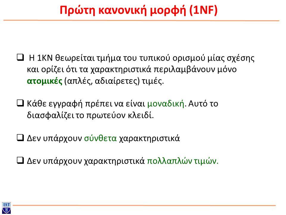 Πρώτη κανονική μορφή (1NF)