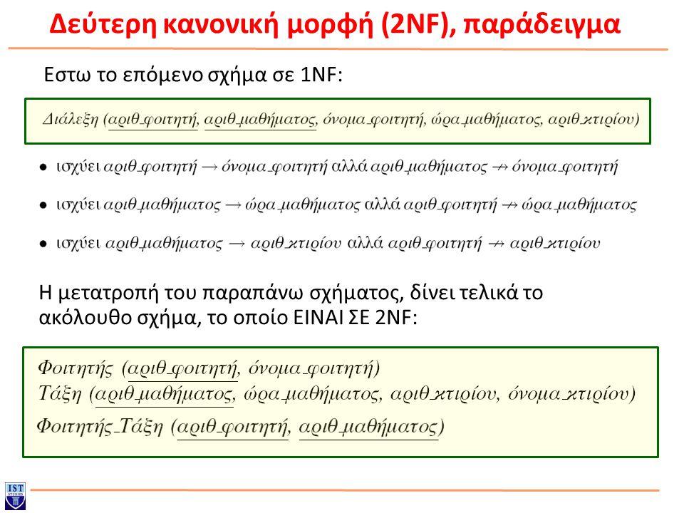 Δεύτερη κανονική μορφή (2NF), παράδειγμα