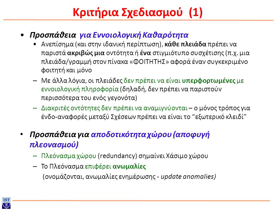 Κριτήρια Σχεδιασμού (1)