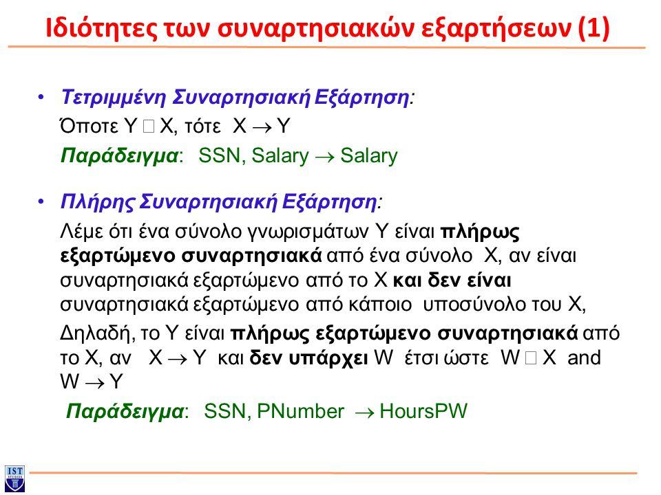 Ιδιότητες των συναρτησιακών εξαρτήσεων (1)