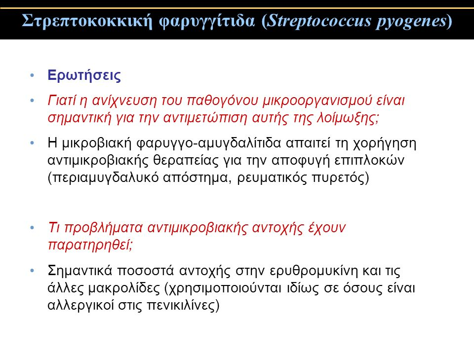 Στρεπτοκοκκική φαρυγγίτιδα (Streptococcus pyogenes)