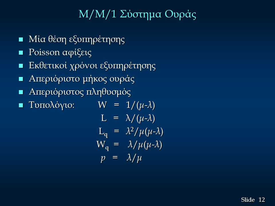 M/M/1 Σύστημα Ουράς Μία θέση εξυπηρέτησης Poisson αφίξεις