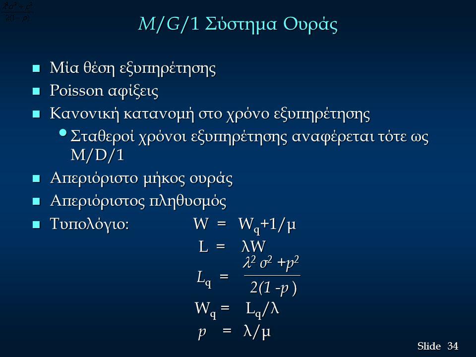 M/G/1 Σύστημα Ουράς Μία θέση εξυπηρέτησης Poisson αφίξεις