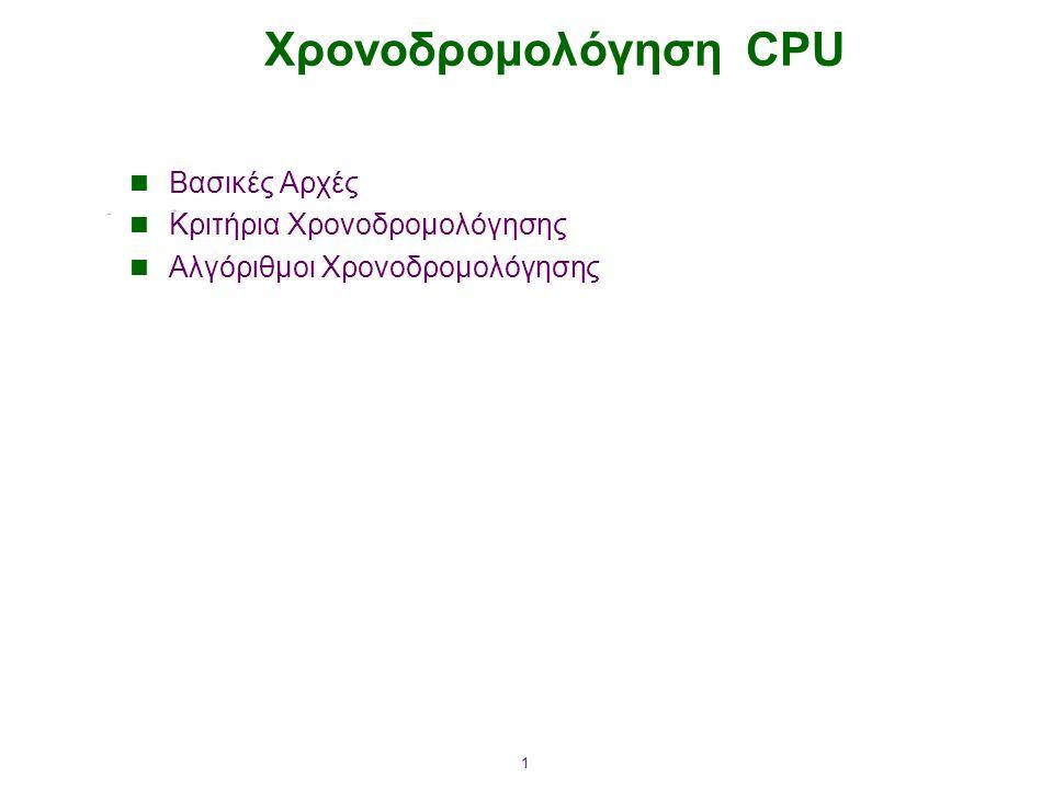 Χρονοδρομολόγηση CPU Βασικές Αρχές Κριτήρια Χρονοδρομολόγησης