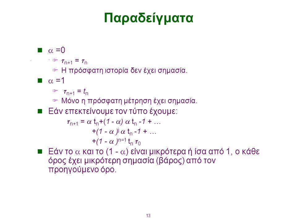Παραδείγματα  =0  =1 Εάν επεκτείνουμε τον τύπο έχουμε: