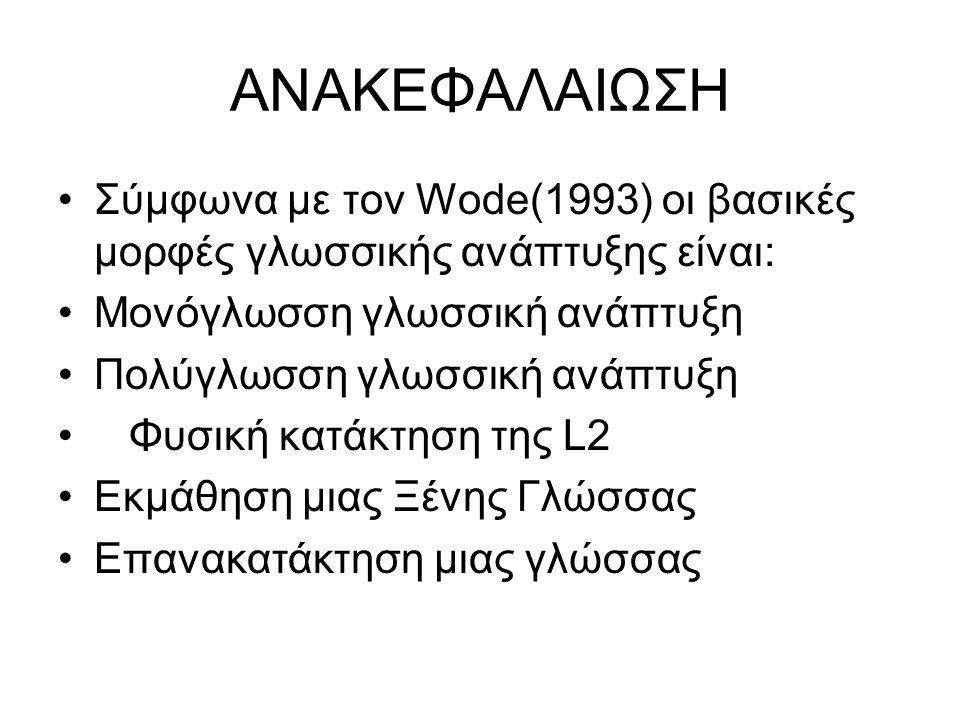 ΑΝΑΚΕΦΑΛΑΙΩΣΗ Σύμφωνα με τον Wode(1993) οι βασικές μορφές γλωσσικής ανάπτυξης είναι: Μονόγλωσση γλωσσική ανάπτυξη.