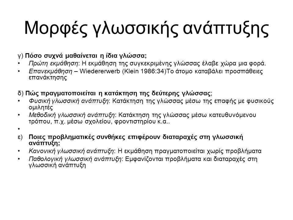 Μορφές γλωσσικής ανάπτυξης