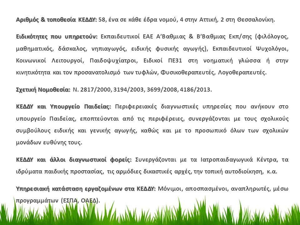 Αριθμός & τοποθεσία ΚΕΔΔΥ: 58, ένα σε κάθε έδρα νομού, 4 στην Αττική, 2 στη Θεσσαλονίκη.