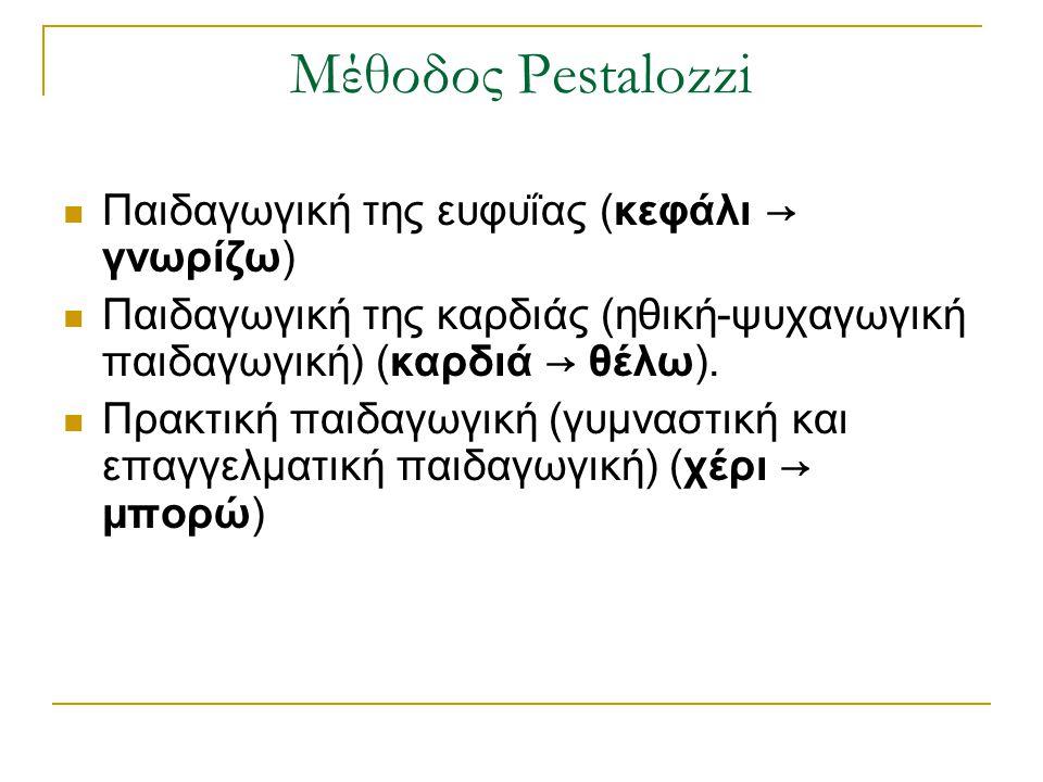 Μέθοδος Pestalozzi Παιδαγωγική της ευφυΐας (κεφάλι → γνωρίζω)