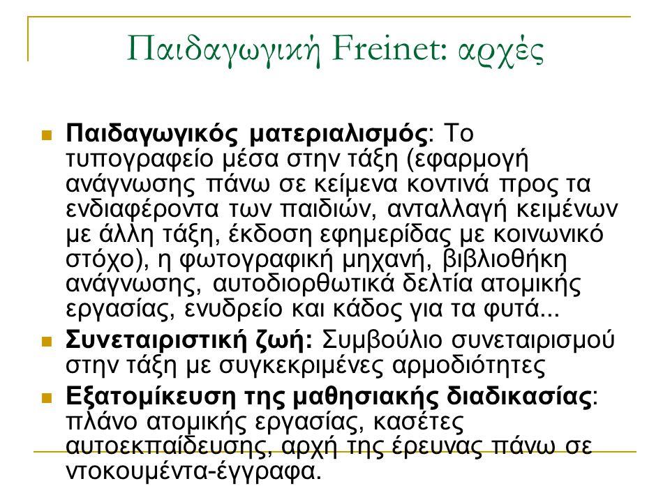 Παιδαγωγική Freinet: αρχές