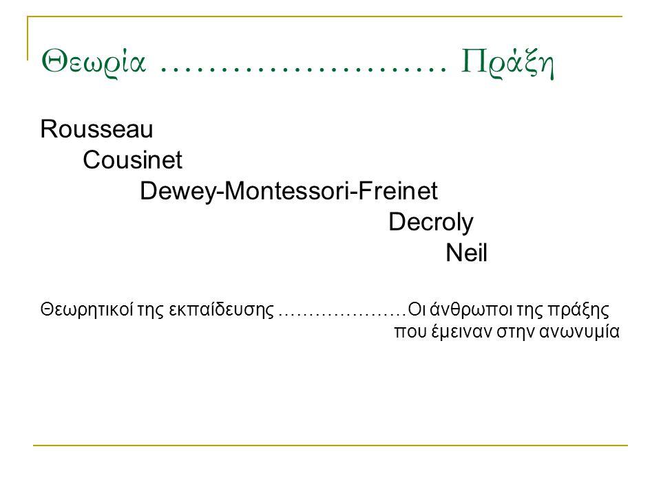 Θεωρία …………………… Πράξη Rousseau Cousinet Dewey-Montessori-Freinet