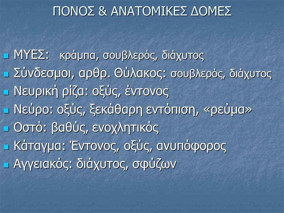 ΠΟΝΟΣ & ΑΝΑΤΟΜΙΚΕΣ ΔΟΜΕΣ