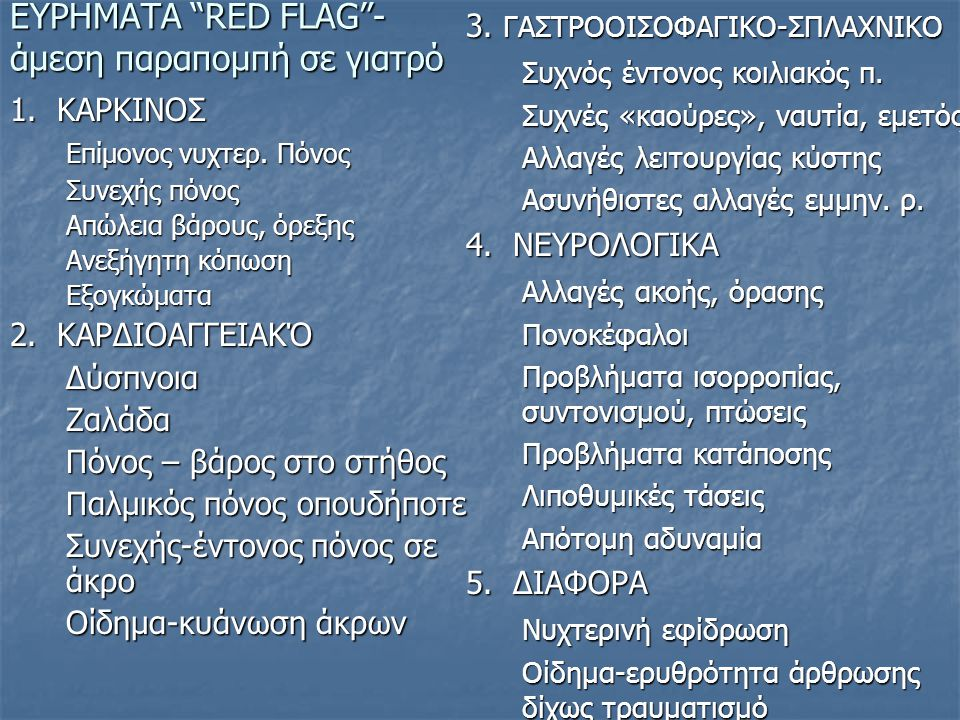 ΕΥΡΗΜΑΤΑ RED FLAG - άμεση παραπομπή σε γιατρό