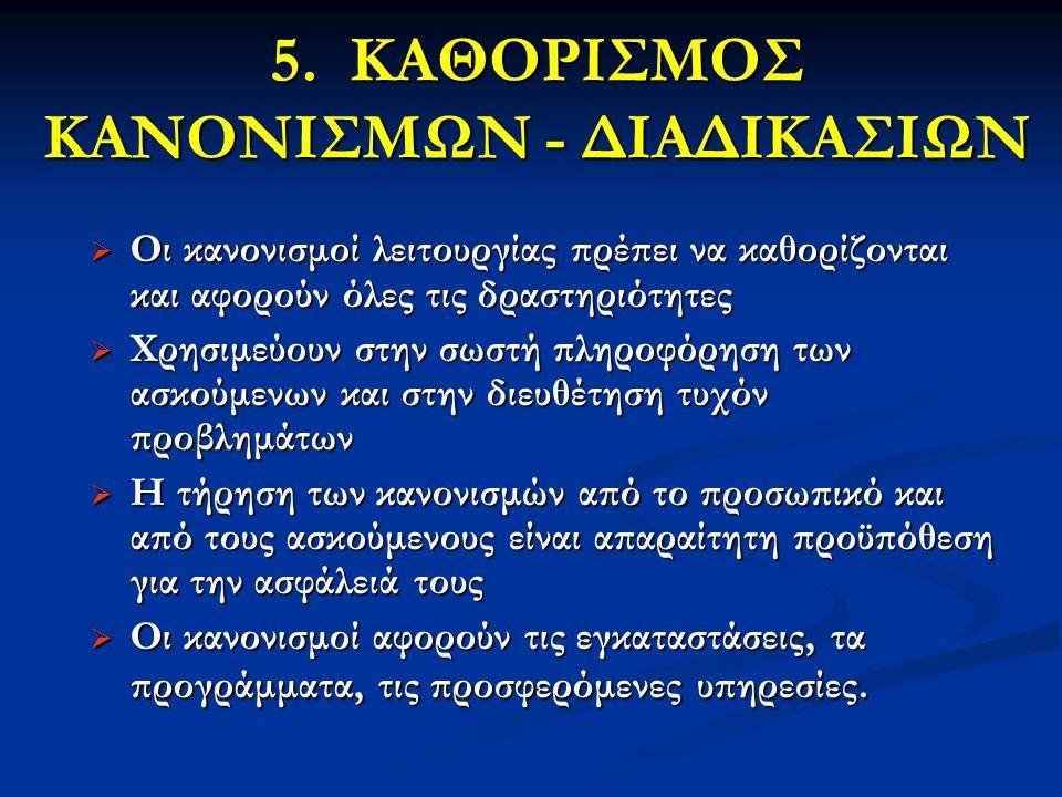 5. ΚΑΘΟΡΙΣΜΟΣ ΚΑΝΟΝΙΣΜΩΝ - ΔΙΑΔΙΚΑΣΙΩΝ