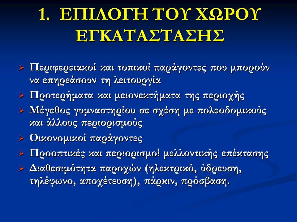 1. ΕΠΙΛΟΓΗ ΤΟΥ ΧΩΡΟΥ ΕΓΚΑΤΑΣΤΑΣΗΣ