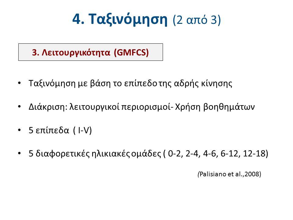 Σύστημα λειτουργικής ταξινόμησης (GMFCS) 12-18 ετών