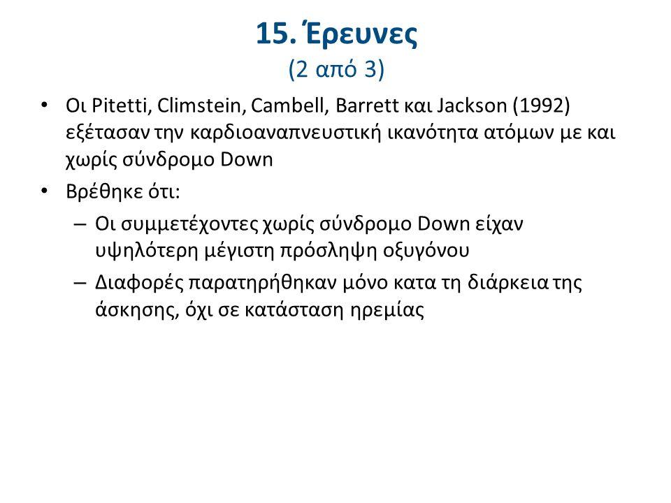 15. Έρευνες (3 από 3) Οι Pitetti και Fernhall (2004) εξέτασαν την απόδοση στο τρέξιμο σε νέους με νοητική αναπηρία και σύνδρομο Down.