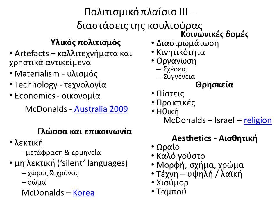 Πολιτισμικό πλαίσιο ΙΙΙ – διαστάσεις της κουλτούρας