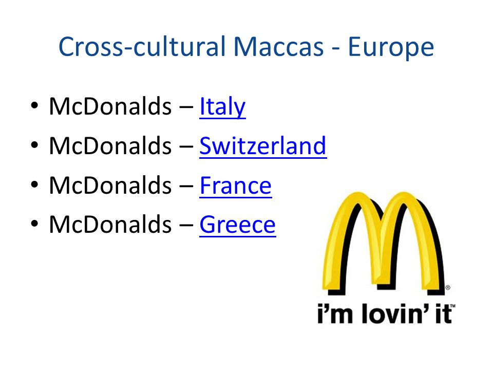 Cross-cultural Maccas - Europe