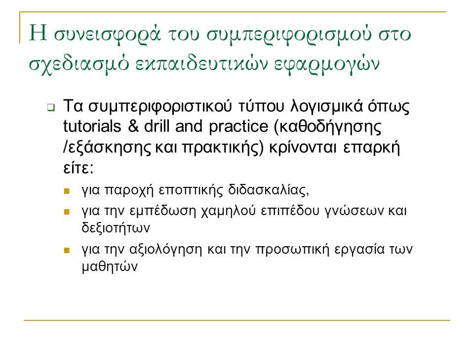 Η συνεισφορά του συμπεριφορισμού στο σχεδιασμό εκπαιδευτικών εφαρμογών
