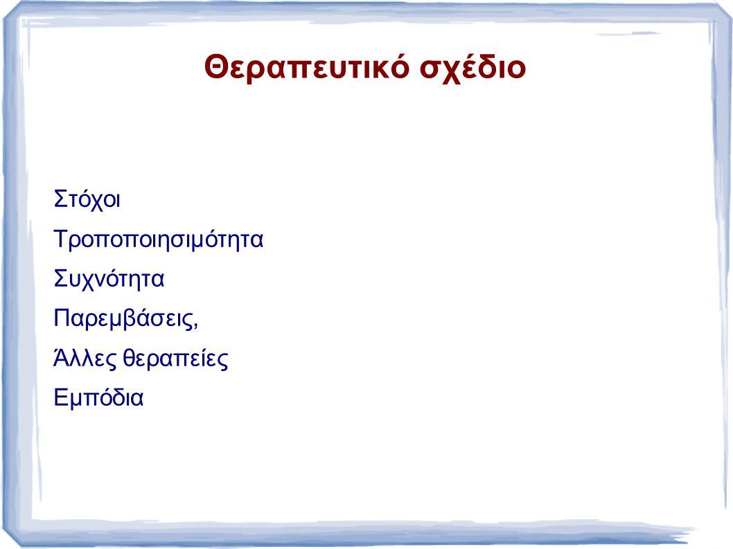 Θεραπευτικό σχέδιο Στόχοι Τροποποιησιμότητα Συχνότητα Παρεμβάσεις,