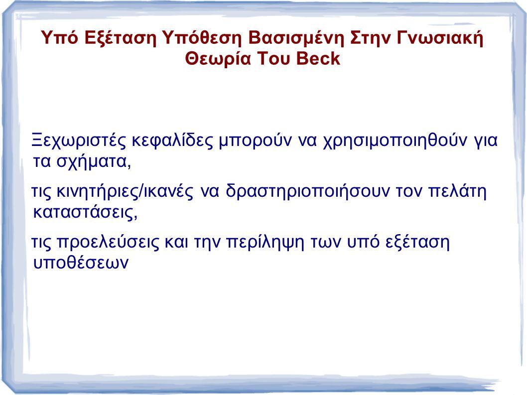 Υπό Εξέταση Υπόθεση Βασισμένη Στην Γνωσιακή Θεωρία Του Beck