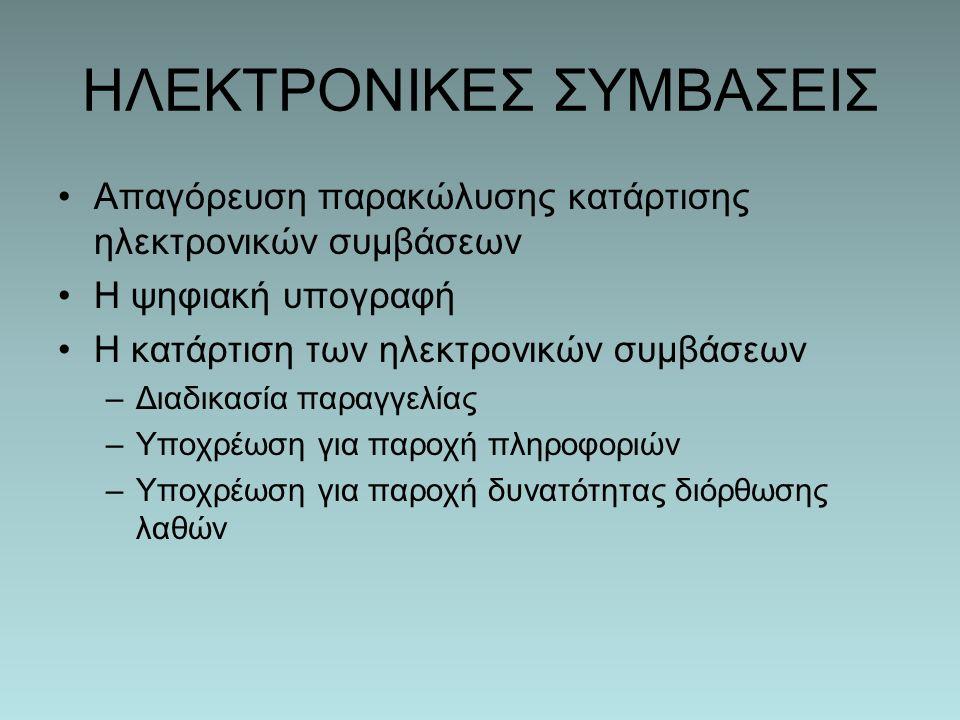 ΗΛΕΚΤΡΟΝΙΚΕΣ ΣΥΜΒΑΣΕΙΣ