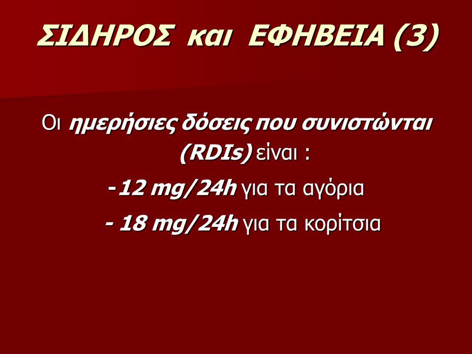Οι ημερήσιες δόσεις που συνιστώνται (RDIs) είναι :
